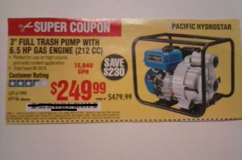 """Harbor Freight Coupon For 3"""" Full Trash Pump With 6.5 HP Gas Engine"""