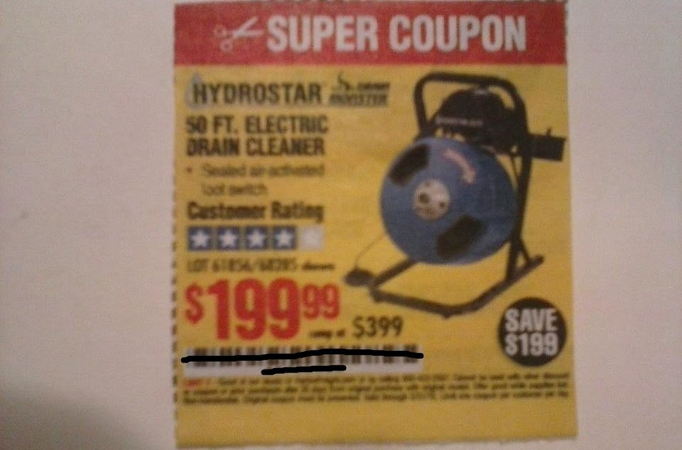 Harbor Freight Coupon For 50 FT. Electric Drain Cleaner
