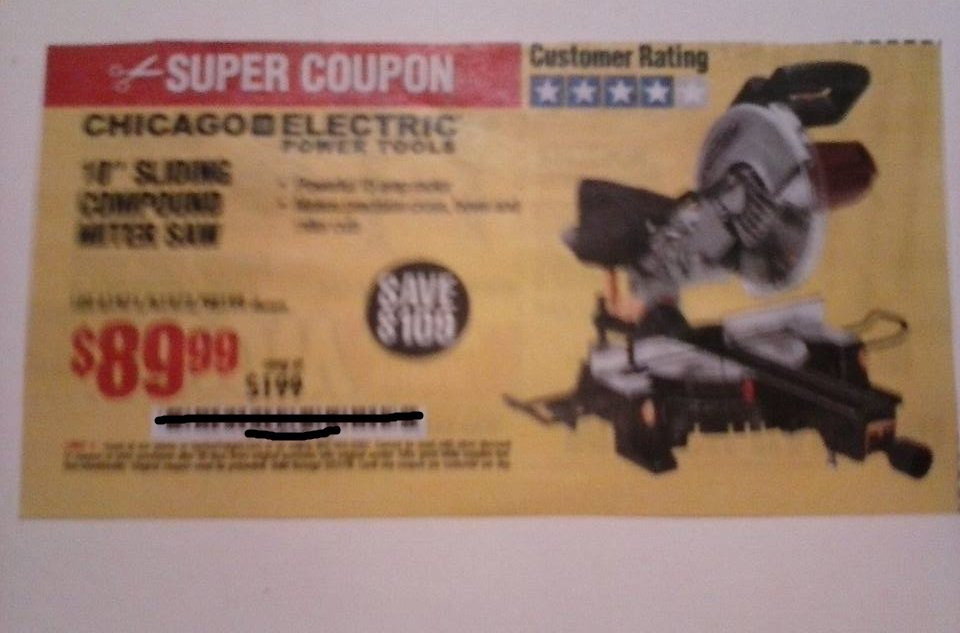 """Harbor Freight Coupon For 10"""" Sliding Compound Miter Saw"""