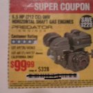 Harbor Freight Coupon For 6.5 HP (212CC) OHV Horizontal Shaft Gas Engine