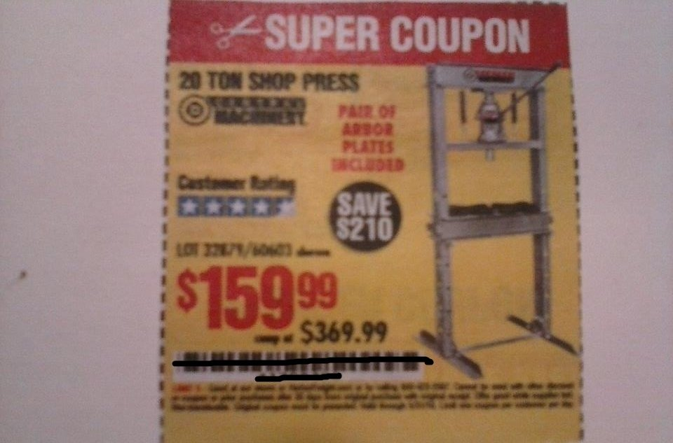 Harbor Freight Coupon For 20 Ton Shop Press Save $210.00