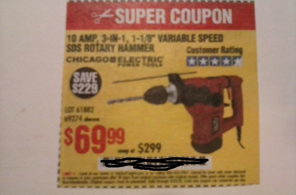 "Harbor Freight Coupon For 10 Amp, 3-in-1, 1-1/8"" Variable Speed SDS Rotary Hammer. SAVE $229"