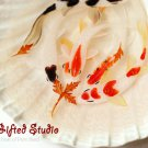 6 Koi with maple leaf in the shell resin painting