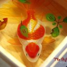 Red Spots Koi with leaves resin painting