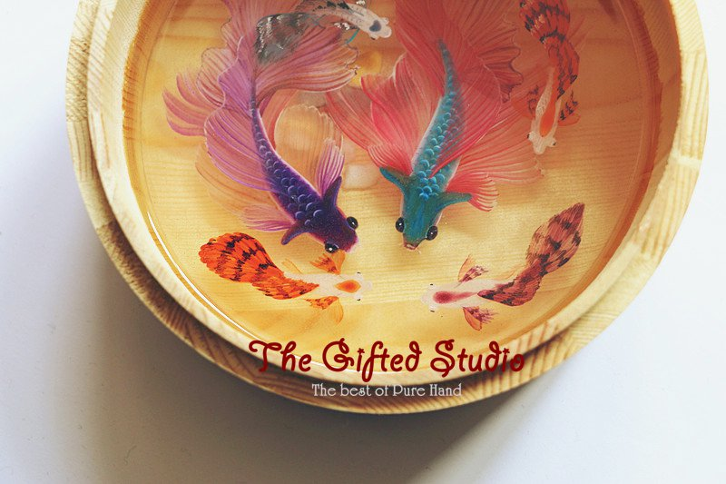 Two Siamese with guppies resin painting