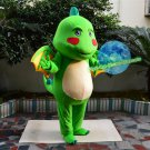 Free Shipping Medieval Green Dragon with wing Mascot Costume for Adult Halloween costume