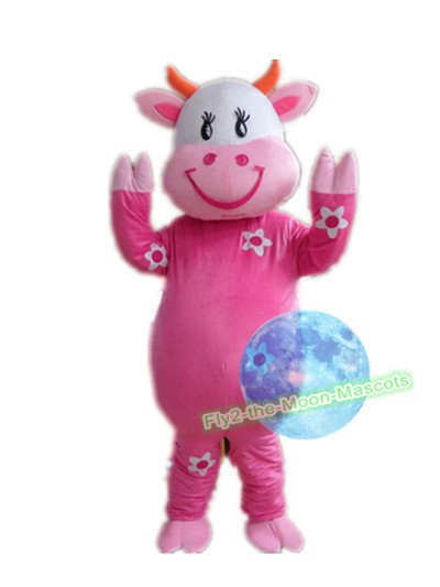Free Shipping Pink Cow Mascot Costume for Birthday Wedding Party Halloween Wedding Events