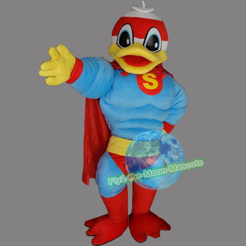 Free Shipping Superman Duck Mascot Costume for Wedding Birthday Party