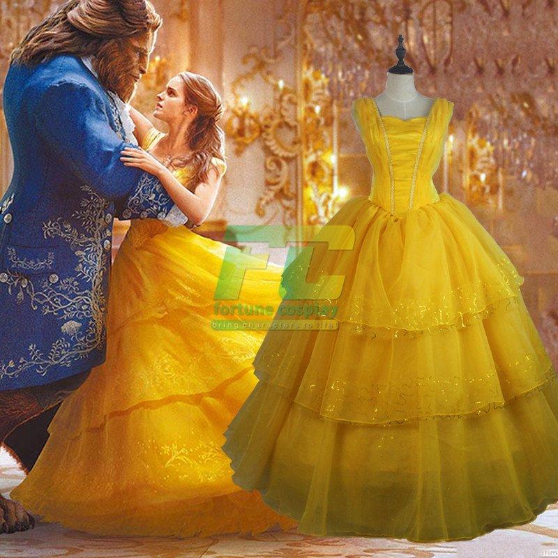 Free Shipping Beauty and Beast Princess Bella Dress Cosplay costume 2