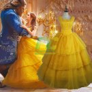 Free Shipping Beauty and Beast Princess Bella Dress Cosplay costume 2