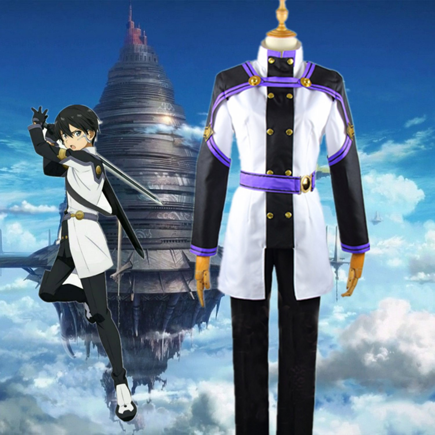 Free Shipping Sword Art Online SAO Movie: Ordinal Scale Kazuto Kirigaya Kirito Cosplay Costume