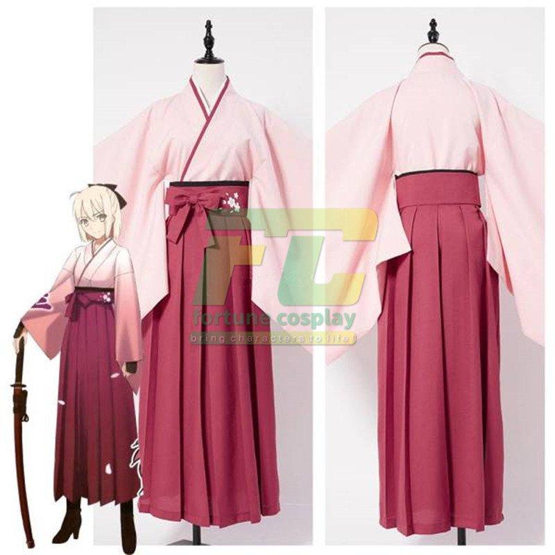 Free Shipping Fate/Grand Order Sakura Saber Kimono Cosplay Costume