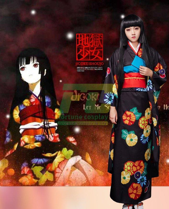 Presale Free Shipping Hell Girl Season 3 Enma Ai Cosplay Costume Floral Kimono