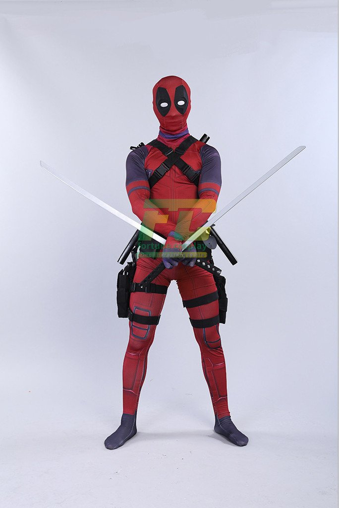 Free Shipping Deadpool Avengers Cosplay Costume Halloween Lycra Spandex Full Body