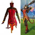 Free Shipping Mercy Devil Skin Cosplay Costume Overwatch OW Halloween