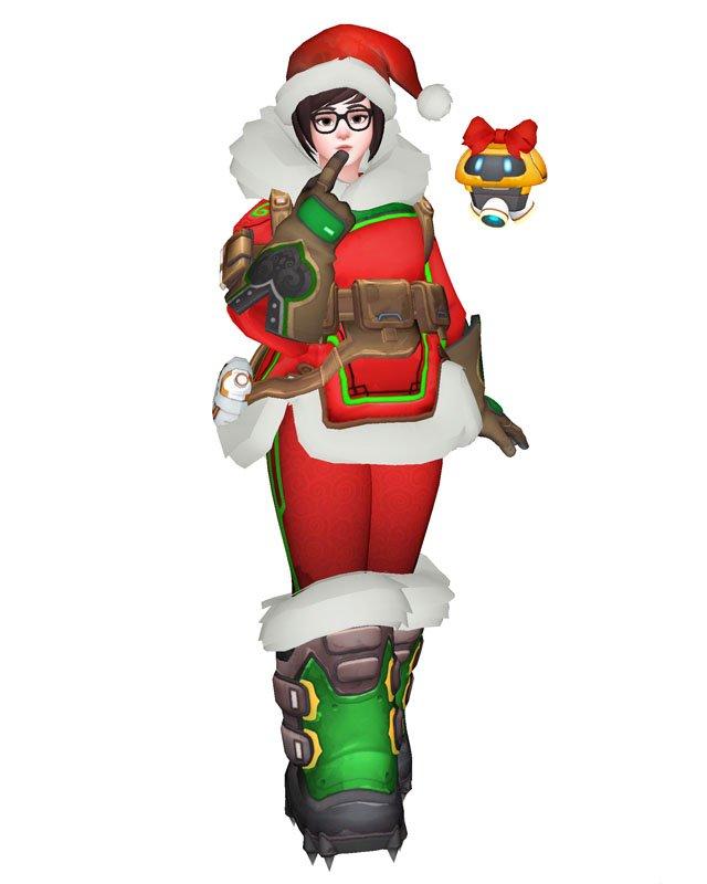 Free Shipping Overwatch Mei Christmas Skin cosplay costume Halloween Christmas Event
