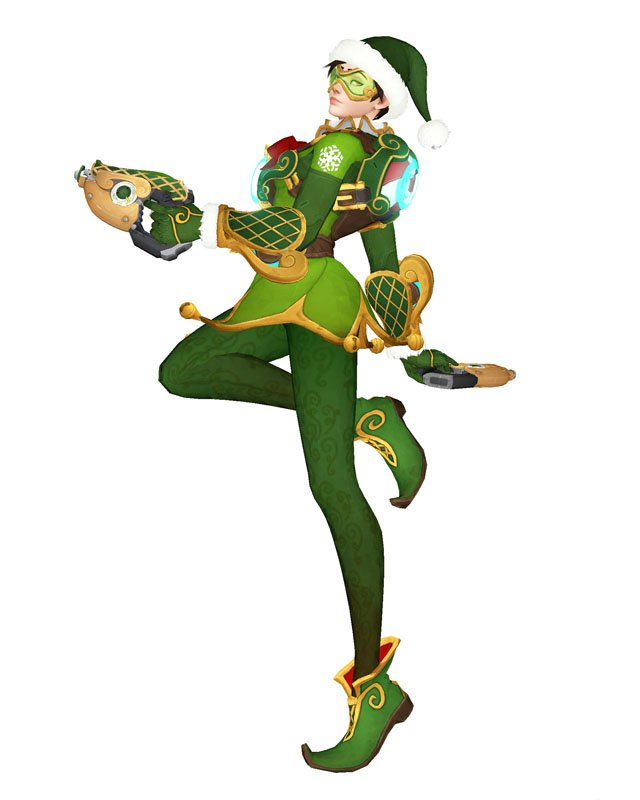 Free Shipping Overwatch Tracer Christmas Skin cosplay costume Halloween Christmas Event