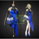 Free Shipping Fate extella fate zero saber cosplay costume blue party dress