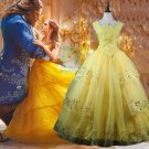Free Shipping Beauty and Beast Princess Bella Dress Cosplay costume 3
