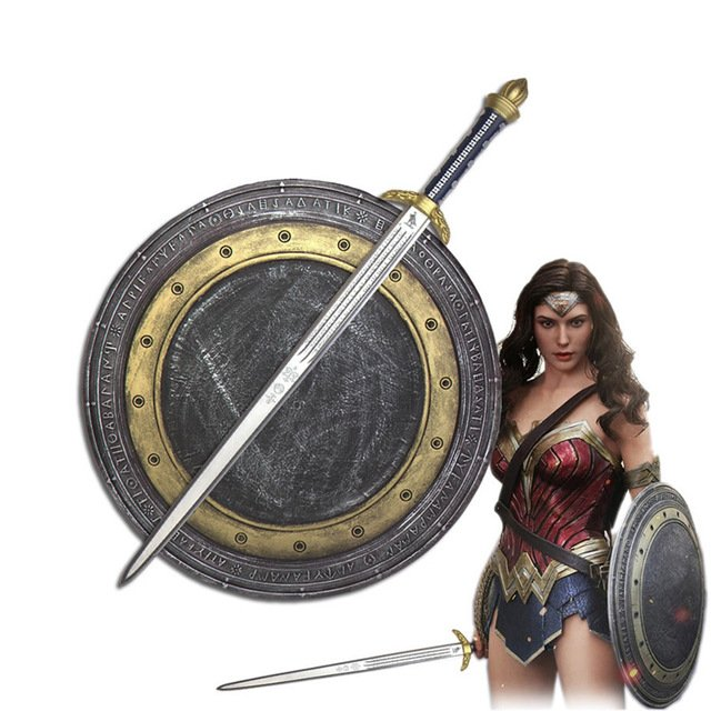 Free Shipping Wonder Woman Diana Cosplay Shield Sword Set Halloween Weapon Prop