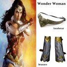 Free Shipping Wonder Woman Wristbands Wrister Bracers Headwear Cosplay Props