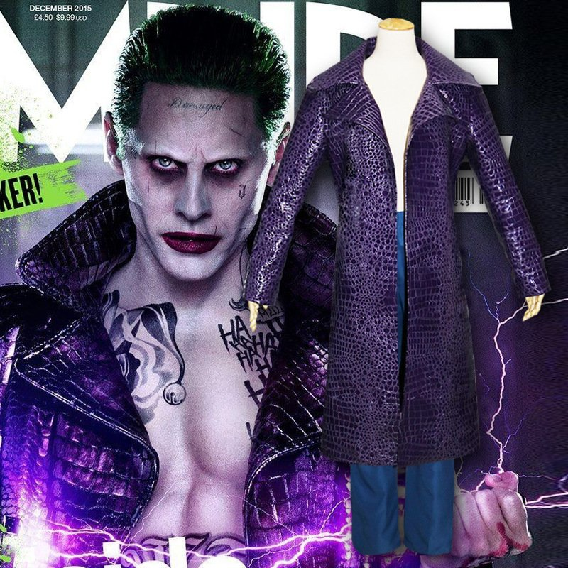 Free Shipping Suicide Squad Batman Joker Cosplay Costume Purple Long Trench Coat Jacket Halloween
