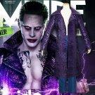 Free Shipping Suicide Squad Batman Joker Cosplay Costume Purple Long Trench Coat Jacket Halloween