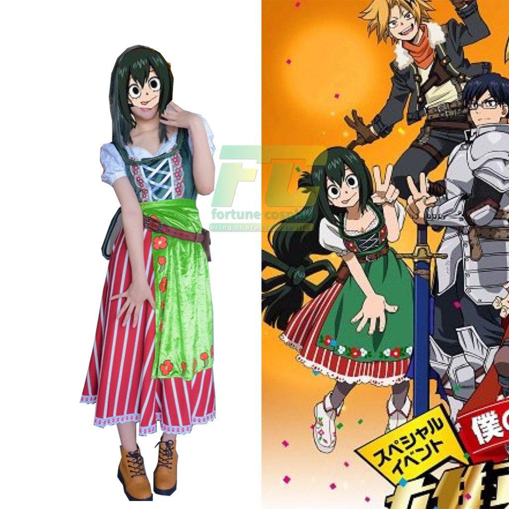 Free Shipping My Hero Academia Asui Tsuyu School Green Dress Cosplay Costume