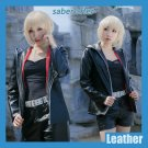 Free Shipping  Fate Grand Order Saber Alter ep Shinjuku Black Faux Leather Cosplay Costume