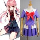 Free Shipping Future Diary Mirai Nikki Gasai Yuno Anime Cosplay Costume School Uniform