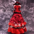 Free Shipping Black Butler Angelina Dulles Madame Red Cosplay Costume Red Dress