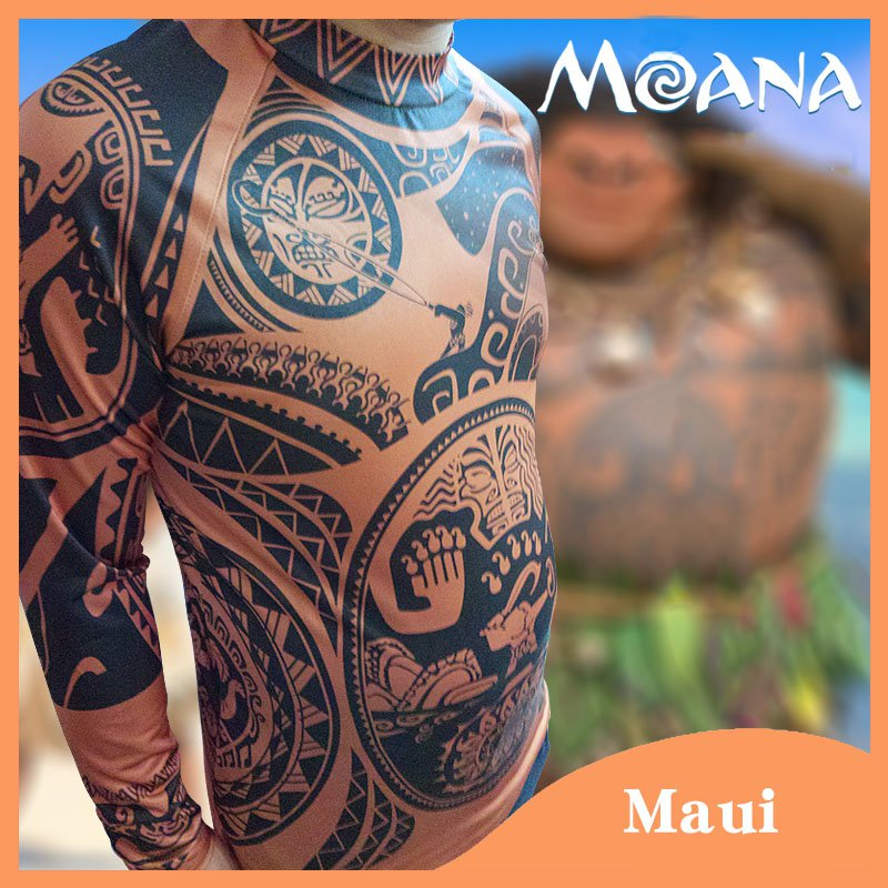 Free Shipping Moana Clothes Maui Cosplay Costume Men's Printed T-shirt