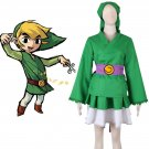 Free Shipping The Legend of Zelda Link Green Lolita Kimono Dress Cosplay Costume
