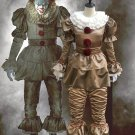 Free Shipping Stephen King's It Pennywise cosplay costume Clown Joker Horror Terror Halloween Outfit