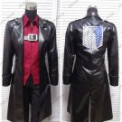 Free Shipping  Attack on Titan Cosplay Costumes Levi Ackerman Trench Recon Corps Against The Wings