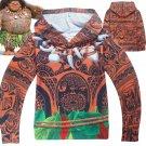 Free Shipping Kid Boys Girls Moana Maui cosplay costume Hoodies Sweatshirt Jacket Halloween