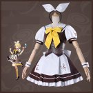 Free Shipping  Vocaloid Rin Cafe Coffee Maid Lolita Dress Uniform Halloween cosplay costume