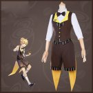 Free Shipping  Vocaloid Len Cafe Coffee Maid Lolita Dress Halloween cosplay costume