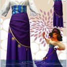 Free Shipping The Hunchback of Notre Dame Esmeralda cosplay costume purple dress