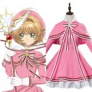 Free Shipping Cosplay Cardcaptor Sakura 2 CCS 2 Kinomoto Sakura Cosplay Costume Pink