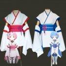 Free Shipping Re:Zero kara Hajimeru Isekai Seikatsu Cosplay Costume Child Rem and Ram Kimono Outfits