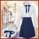 Free Shipping Fate/Stay Night Saber Lily Altria Pendragon Cosplay Costume Full Set Casual Uniform