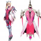 Free Shipping OW Cosplay Mercy Angela Ziegler Costumes Adult Women Outfit Pink