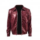 Free Shipping Bruno Mars Brothers Cosplay costume Red Jacket Coat Outwear Leather