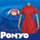 Free Shipping Hayao Miyazaki Movie PONYO Cosplay Costume Lovely Halloween Red Dress Custom Made