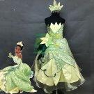 Free Shipping  girls Princess Tiana kids Princess and the Frog Tiana cosplay costume embroidery