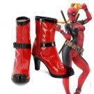Free Shipping Superhero Female Deadpool Cosplay Boots Shoes Custom made Girl Women