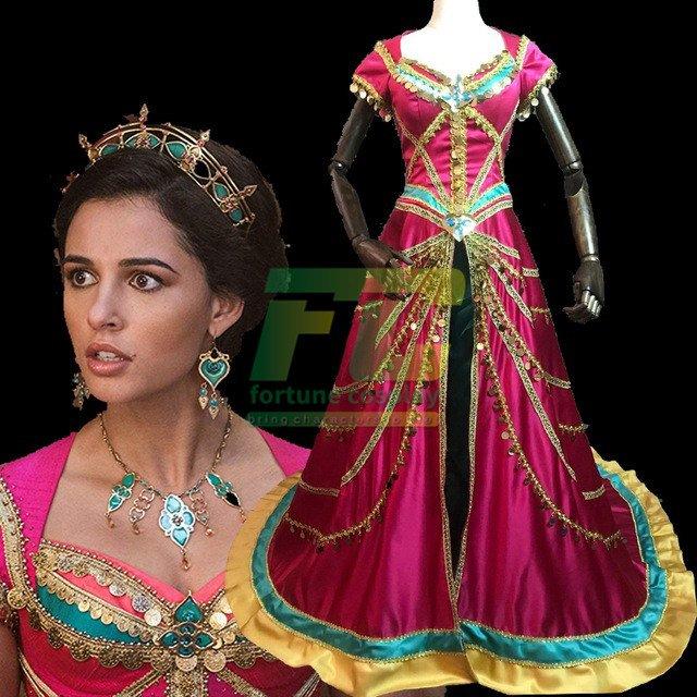 Free Shipping 2019 Movie Aladdin Princess Jasmine Cosplay Costume Fancy Dress Custom Made