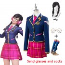 Free Shipping OW DVA D.VA Hana Song Young School Cosplay Costume