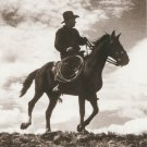IN THE SADDLE Postcard Horse Western Cowboy Sepia Tone